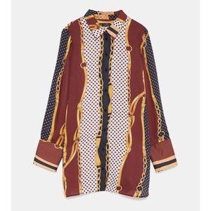 Zara Long Sleeve Button Down Chain Print Shirt